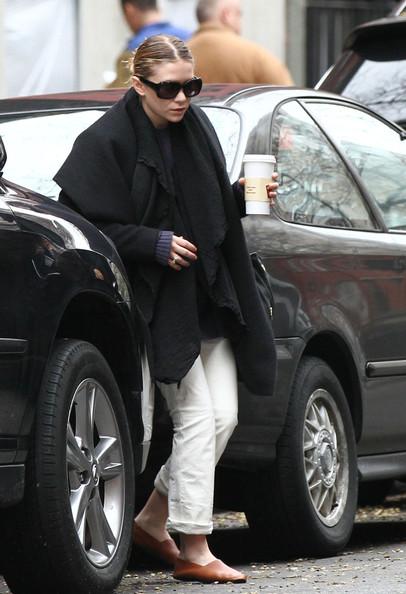 Ashley Olsen Leather Slip On Shoes