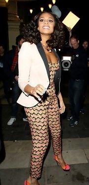 Alesha Dixon tamed her sexy print crop-top and pants combo with a black-and-white blazer on 'Britain's Got Talent.'