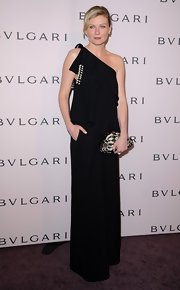 Kirsten Dunst was the picture of elegance in this black single-shoulder gown at the Bulgari soiree.