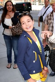 Bailee Madison was spotted wearing a pair of sunglasses on her head at her NYC hotel.