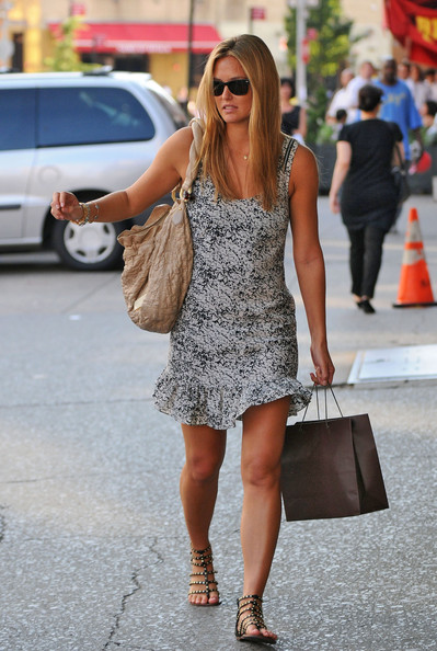 Bar Refaeli stepped out for shopping in a pair of gladiator inspired flats.