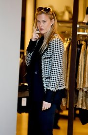 Bar paired her jeans with this sophisticated collared tweed jacket while out shopping in Barcelona.