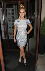 Ashley Roberts stepped out in this cool print dress for a modern look.