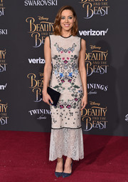 Aubrey Plaza looked demure and chic in an embroidered lace dress by Yigal Azrouel at the premiere of 'Beauty and the Beast.'