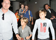 Brit-born Brooklyn Beckham showed his American pride with an abstract star-spangled banner tee at LAX in 2010.