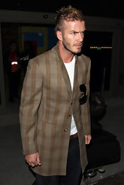 David Beckham 'dresses up' jeans and a t-shirt with this striped sportcoat.
