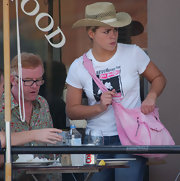 Get your cowboy on... Billie Piper sported a straw cowboy style hat while out for lunch at Cuvee.
