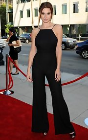 Alyson Michalka's wide-leg black jumpsuit showed off the star's sleek style.