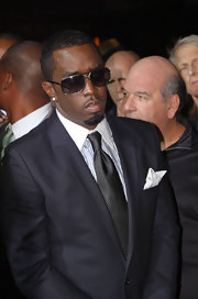 Sean Combs paired a dotted gray tie with a charcoal suit for an elegant look during the 'Boardwalk Empire' premiere.