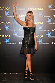 At the Spanish premiere of 'The Bounty Hunter,' Jen paired her little black dress with black strappy heels.