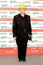 It's never just simple black with Boy George. He opted for a bedazzled rose and skull motif for the Rome Film Festival.