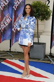 Simple nude pumps were the perfect complement to Alesha Dixon's busy print dress.