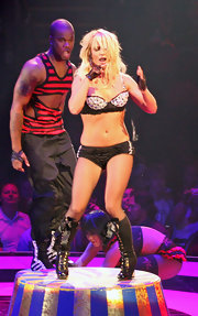 Britney rocked out on stage in lingerie and knee-high lace up boots.