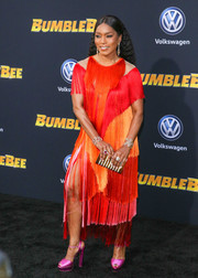 Angela Bassett looked party-ready in a color-block fringe dress by Alberta Ferretti Couture at the premiere of 'Bumblebee.'