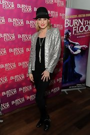 Camilla Dallerup sparkled in a silver sequined blazer while attending the 'Burn the Floor' press night.