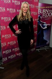Denise van Outen opted for a long-sleeved LBD for her red carpet look at 'Burn the Floor.'