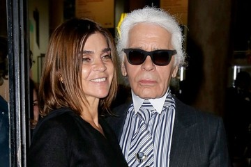 Carine Roitfeld Karl Lagerfeld Celebs at Paris Fashion Week