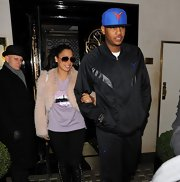 La La Anthony glammed up her casual outfit with a beige fur coat during a dinner out with her husband.