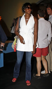 Naomi Campbell looked summery in red flower adorned sandals.