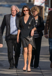 Catherine Zeta-Jones went edgy-sexy in a leather-panel LBD by Pamella Roland for her appearance on 'Kimmel.'