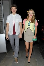Lydia Bright's evening look was cool and mod with this pastel geometric print dress.