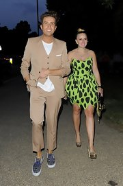 Nick Grimshaw chose a tan three-piece suit for his look at the Serpentine Gallery Summer Party.