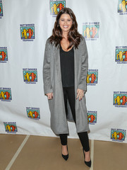 Katherine Schwarzenegger attended the Best Buddies Makeup event sporting a simple wool coat, tee, and skinnies combo.