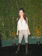 Danica McKellar went edgy on the bottom half with a pair of gray snakeskin-print pants.