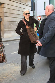 Annie cozied up in her large black pea coat.