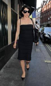 Sadie Frost's tube-style little black dress kept her street style super chic.
