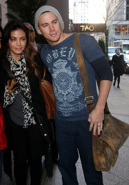 Channing Tatum wore an oversize gray beanie for an outing with his wife.
