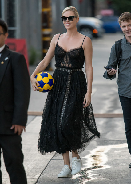 More Pics of Charlize Theron Leather Sneakers (1 of 23) - Charlize Theron Lookbook - StyleBistro []