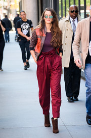 Charlotte Le Bon took a stylish stroll wearing a two-tone bomber jacket by Sophie Theallet.