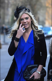 Chelsy Davy wore a bold black cuff bracelet to the wedding of Lady Katie Percy.