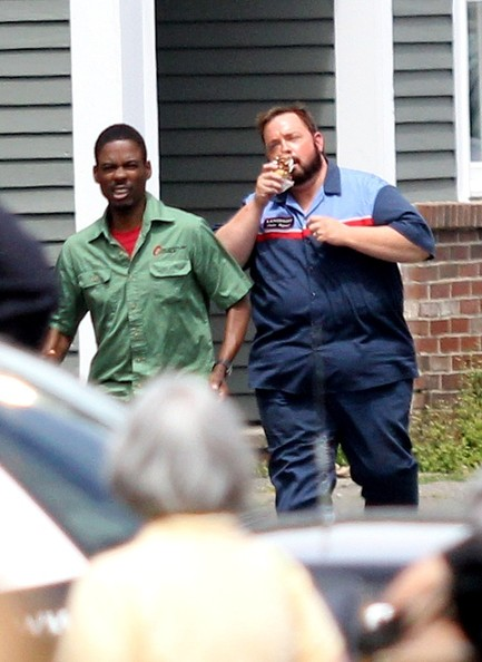 Adam Sandler and Shaquille O'Neal on the Set of 'Grown Ups 2'
