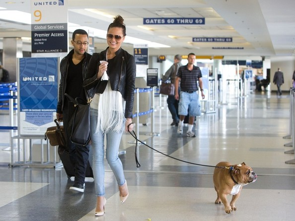 John Legend and Chrissy Teigen at LAX