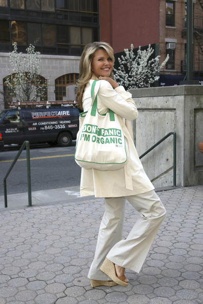 Always one to support a good cause, Christie shows of her fashionable yet eco-friendly tote.