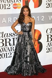 Myleene looked very, umm, shiny in this strapless number at the Classical Brits Awards.