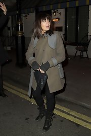 Claudia Winkleman showed her rocker style with this two-toned wool coat.