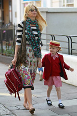 Claudia Schiffer Clementine Vaughn Claudia Schiffer Walks Her Daughter to School