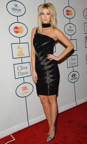 Delta Goodrem was rocker-chic in an embellished one-shoulder LBD during Clive Davis' pre-Grammy gala.