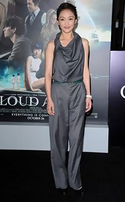 Xun Zhou looked chic and edgy in this gray jumpsuit with a unique cowl neck.