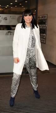 Jessie J sported this cool black and white jumpsuit while heading to the Comic Relief Radio event.