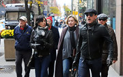 Satsuki Mitchell cozied up in a stylish black leather jacket while out on a stroll.