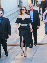 Daisy Ridley was modern and sexy in a black Carolina Herrera off-the-shoulder dress with a high front slit while headed to 'Kimmel.'