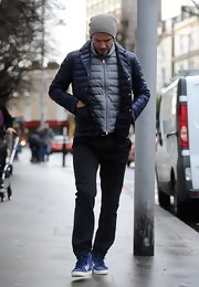 David Beckham rocked a double puffa jacket look on the streets of London.