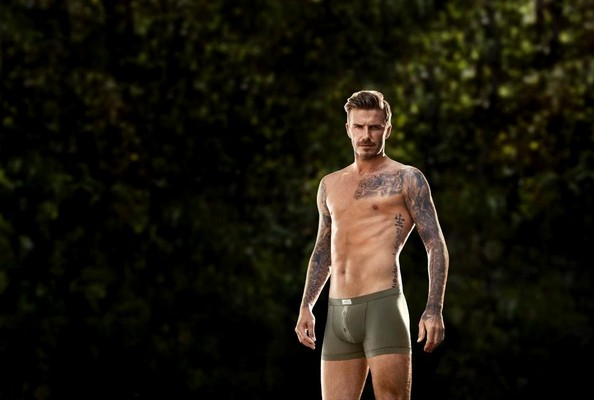 David Beckham modeled boxer briefs for H&M in new ad campaign shots.