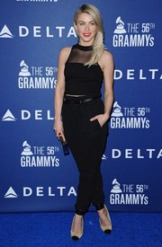Julianne Hough was casual-chic in a black sheer-panel crop-top during the Delta Air Lines Grammy party.