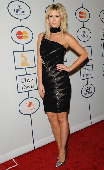 Delta Goodrem One Shoulder Dress