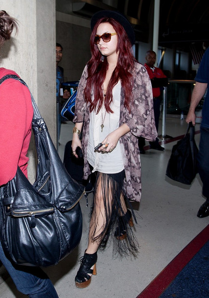 Demi Lovato Fringed Skirt